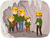 image of cave woman  - Illustration of a Family on a Cave Tour - JPG