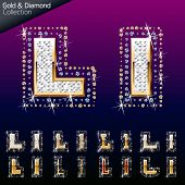 Shiny font of gold and diamond vector illustration. Letter l