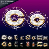 Shiny font of gold and diamond vector illustration. Letter c