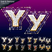 Shiny font of gold and diamond vector illustration. Letter y