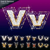 Shiny font of gold and diamond vector illustration. Letter v
