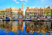 picture of reflection  - Canal houses of Amsterdam at dusk with vibrant reflections - JPG