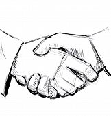 Business hand shake between two people