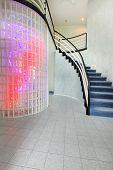 Modern Foyer With Glass Block Wall Trim