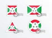 picture of burundi  - Stamps with the image of the flag - JPG