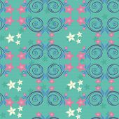 Turquoise pattern with pink flowers.