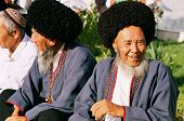 Ashgabat, Turkmenistan - August 26.  Portrait Of Two Old Unidentified Laughing Asian Men. Oriental B
