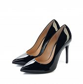 pair of black high heels women classic shoes
