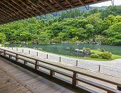 Japanese Garden With A Pond, Arashiyama District, Kyoto, Japan