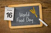 World Food Day written on a blackboard,  October 16