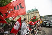 BERLIN, GERMANY - MAY 23, 2014: Rally against AfD is a centrist political party founded in 2013. Won