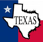stock photo of texas map  - An outline map of Texas with the star and map colors - JPG
