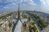 Fish-eye View Of Paris From Notre-dame