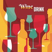 Wine Drink - Vector Background with Wine Bottles and Glasses