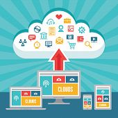 Clouds Network and Responsive Adaptive Web Design with Vector Icons - digital devices in flat design