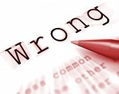 Wrong Word Displays False Bad Or Improper