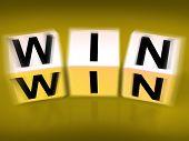 Win Blocks Displays Success Triumphant And Winning