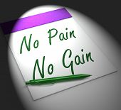 No Pain No Gain Notebook Displays Hard Work Retributions And Motivation