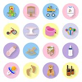 stock photo of feeding horse  - Baby and kids flat icons set vector graphic illustration - JPG