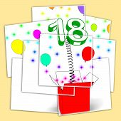 Number Eighteen Surprise Box Displays Party Decorations And Sparkling Balloons