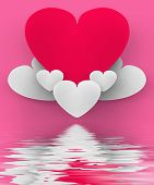 Heart On Heart Clouds Displays Romantic Heaven Or In Love Sensation
