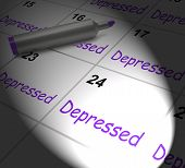 Depressed Calendar Displays Discouraged Despondent Or Mentally Ill