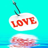 Love On Hook Displays Romantic Seduction Or Flirting