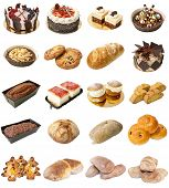 picture of baps  - A selection of freshly baked bread baps and cakes isolated on a white background - JPG
