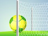 Creative poster, banner or flyer design with colorful soccer ball in front of goal post on ground.
