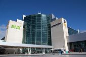 LISBON, PORTUGAL - MAY 28, 2014: The main entrance of the Lisbon airport. In 2013, the Lisbon airpor