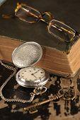Vintage pocket watch old book brass Key