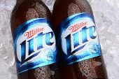 Miller Lite Beer Bottles On Ice