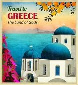 Travel to Greece Poster - Sunny Greece seaside view, with white church with blue domes at the front,