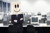 Businessman With Cardboard Head Smiling 1