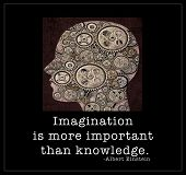 Imagination - a silhouetted human head filled with gears and a quote from Albert Einstein