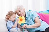 stock photo of love making  - Horizontal view of grandma - JPG