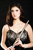 Art. Woman Flutist Flaustist Musician With Flute