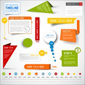 Vector infographic timeline elements / template - various colors