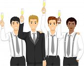 Illustration Featuring Groomsmen Raising a Toast