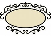image of oval  - Illustration of an Oval Frame Surrounded by Decorative Swirls - JPG