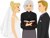 Back View Illustration of a Female Priest Officiating a Wedding Ceremony