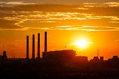 Sunset And Cloud  Over gas turbine electrical power plant