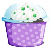 Illustration of a disposable container with a cake on a white background