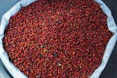 Bag Of Dried Chiltepe Peppers For Sale At Chichicastenango Market Guatemala