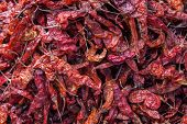 Drying Red Hot Chili Peppers At Chichicastenango Market Guatemala