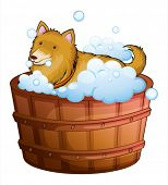 Illustration of a big dog at the bathtub on a white background