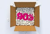 Box With Shipping Peanuts And 90 Percent Off Sign