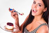 Horizontal Composition Attractive Brunette Woman Eating Sweet Dessert Cheesecake Snack