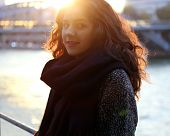 Beautiful Girl In Backlit At Sunset In The City