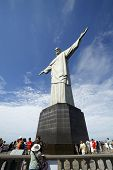 RIO DE JANEIRO, NOVEMBER 4: The Christ the Redeemer is a statue art deco depicting Jesus Christ, located in the Santa Teresa neighborhood in the city of Rio de Janeiro, Brazil on November 4, 2014.